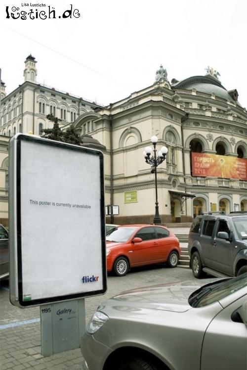 Fehlermeldung bei Werbeplakat