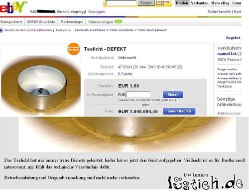 Abgebranntes Teelicht bei Ebay