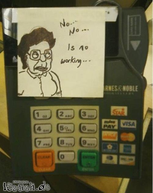 Hinweis am EC-Automat
